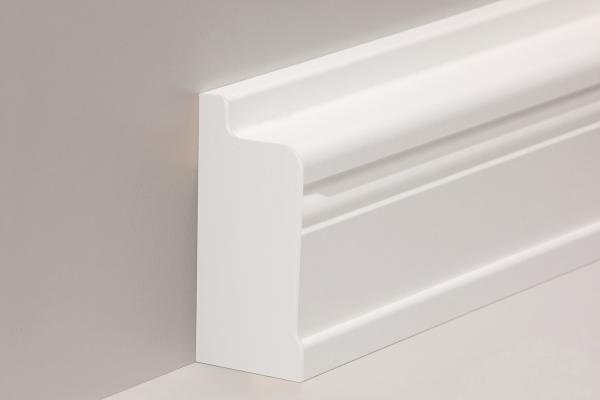 Endkappe für Heizrohrverkleidung in Buche, weiß lackiert (68 x 144 mm)