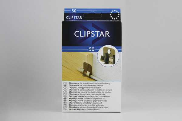 Leisten-Systemclips ClipStar – Karton à 50 Stück inkl. Dübel und Schrauben
